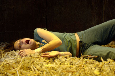 Shawnee Smith falls into a pit of dirty hypodermic needles. The best part of Saw II